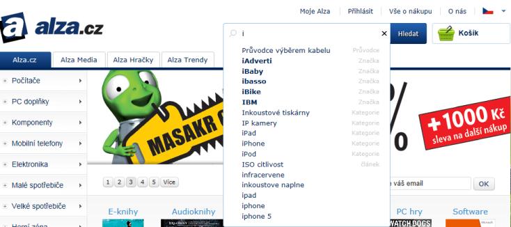 Alza.cz ukázka vyhledávání