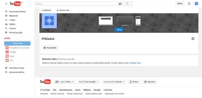 video kanál stránky